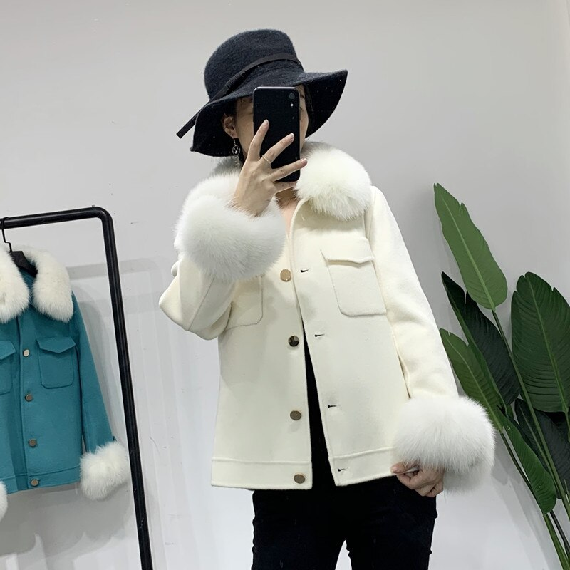 Двухстороннее кашемировое пальто с воротником из лисьего меха, женское короткое стильное пальто 2020, модное приталенное шерстяное пальто на...