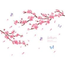 Autocollant mural en fleurs de cerisier Bedr   Autocollant mural autoadhésif, en papier, de style chinois, pour décoration murale, salon