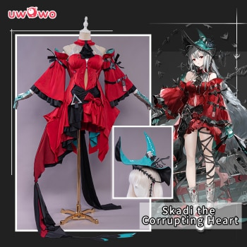 PRE-SALE UWOWO Game Arknights Skadi The Corrupting Heart Cosplay Costume Red Dress Uniform for Halloween Christmas Party