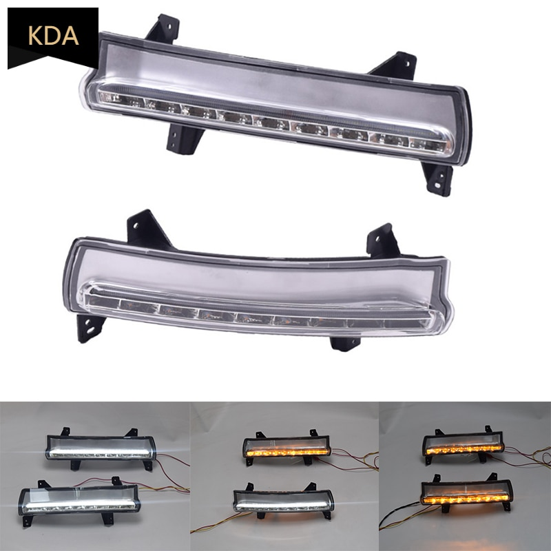 2Pcs 2 Colors Auto DRL 12V LED Daytime Running Light Turn Signal Day Light Fog Lamp for Jeep Compass 2017 2018 2019