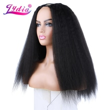 Lydia Afro Kinky Straight U Part Natural Black Color Hair Wig Heat Resistant Synthetic 16-22 Inch Daily Wigs For Women  Ladies