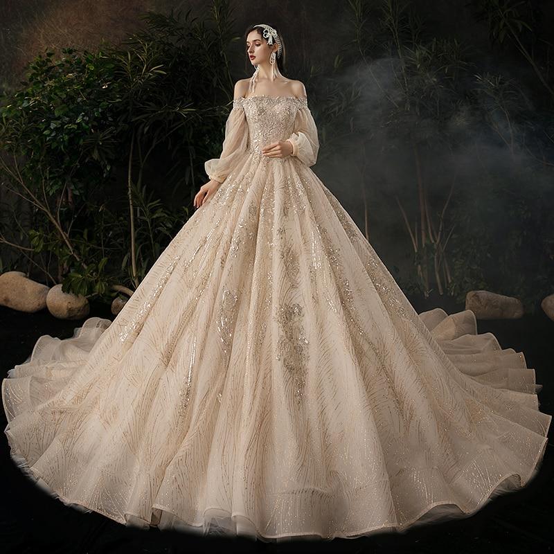 فستان زفاف مطرزة بالترتر بأكمام منتفخة ، ياقة قارب ، ثوب كرة ، فاخر ، طويل ، للنساء ، B049