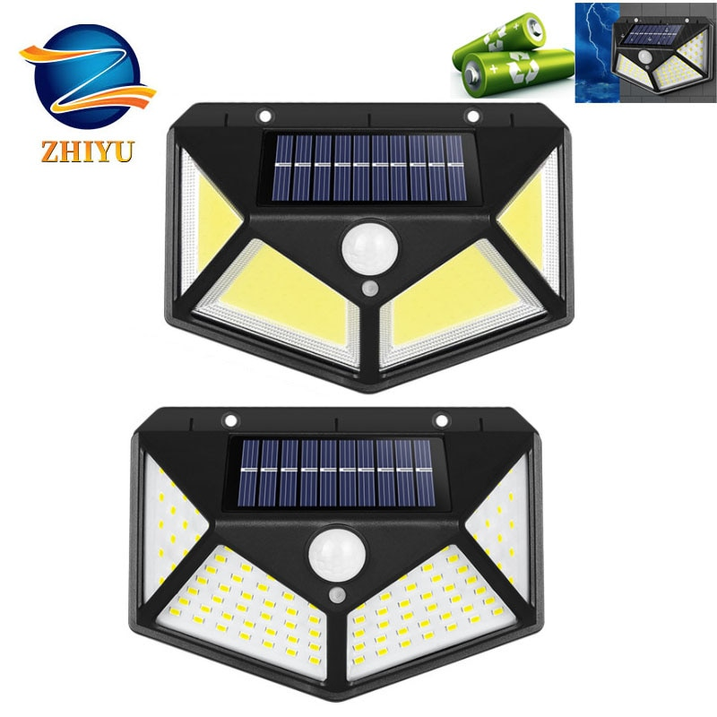 100LED+COB Solar Rechargeable Wall Lamp Induction Lamp Outdoor Lighting Modern Garden Lamp Glowing on All Sides LandscapeLight
