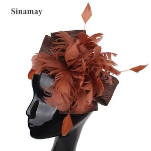 Imitation Sinamay Wedding Fashion Headwear Women Fascinator Hat Elegant Ladies Chic Church Headress With Mesh Hair Accessories
