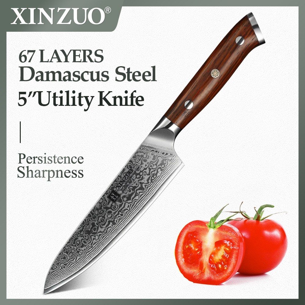 AliExpress - XINZUO 5″ inch Utility Knife 67 Layers Japanese Damascus Steel Kitchen Knife Brand Top Sale Paring Knives with Rosewood Handle
