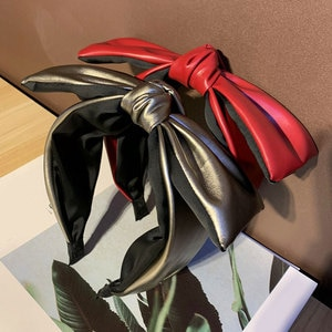 Hairbands Hair Accessories Knotted Bowknot Head Hoop Hairbands Wide Non-slip PU Leather Hair Hoop Women Headband Headdress Red