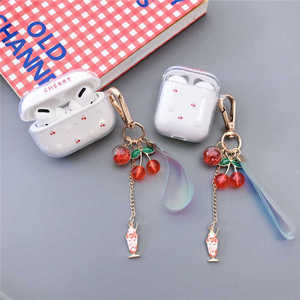 Cute Cherry Pattern Clear TPU Soft Cover For AirPods Pro 3 Wireless Bluetooth Earphone Case For AirPods 1 2 Cover Key Ring