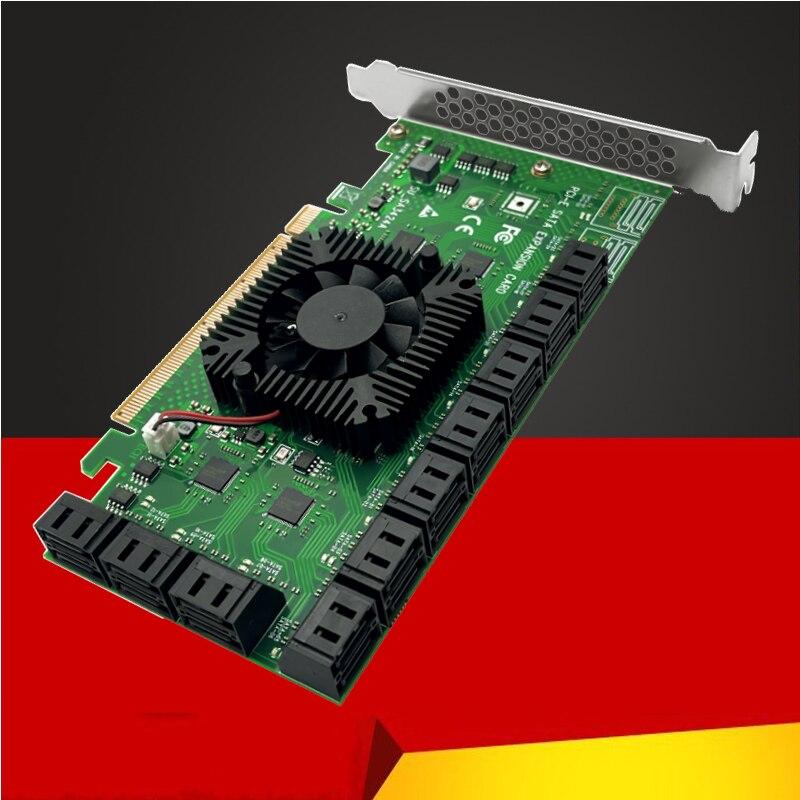 جهاز التحكم في التعدين 20 منفذ SATA PCI-E محول PCIE SATA PCI Express X16 SATA بطاقة تحكم PCIE إلى SATA3 6Gbps إضافة جديدة على بطاقة