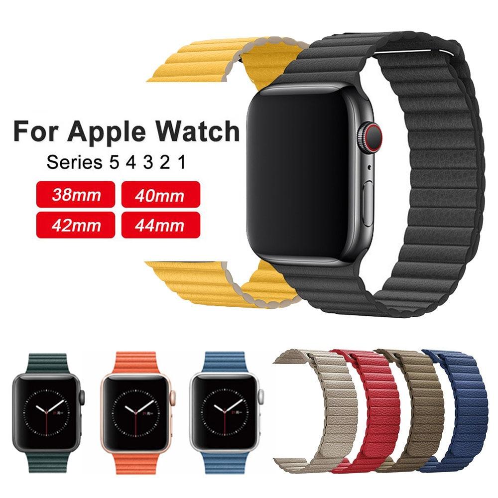 Correa de cuero para Apple Watch, 44mm, 40mm, 42mm, 38mm, pulsera de lazo magnético para iwatch 5 4 3 accesorios