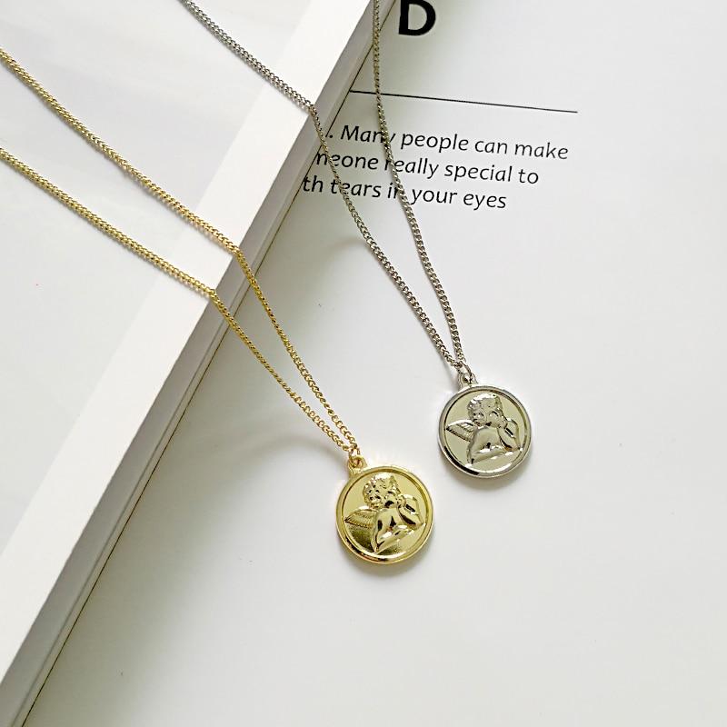 Novo chique anjo da guarda medalhão moeda pingente colares proteção querubim cupido gargantilhas jóias