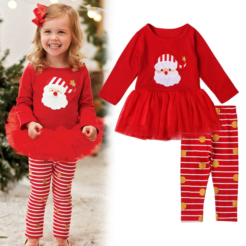 Новинка 2020 года; Осенний Рождественский детский костюм милый костюм Санта Клауса с длинными рукавами в полоску хакама; Комплект из 2 предметов модная одежда для маленьких девочек Детский комплект|Комплекты пижам| | АлиЭкспресс