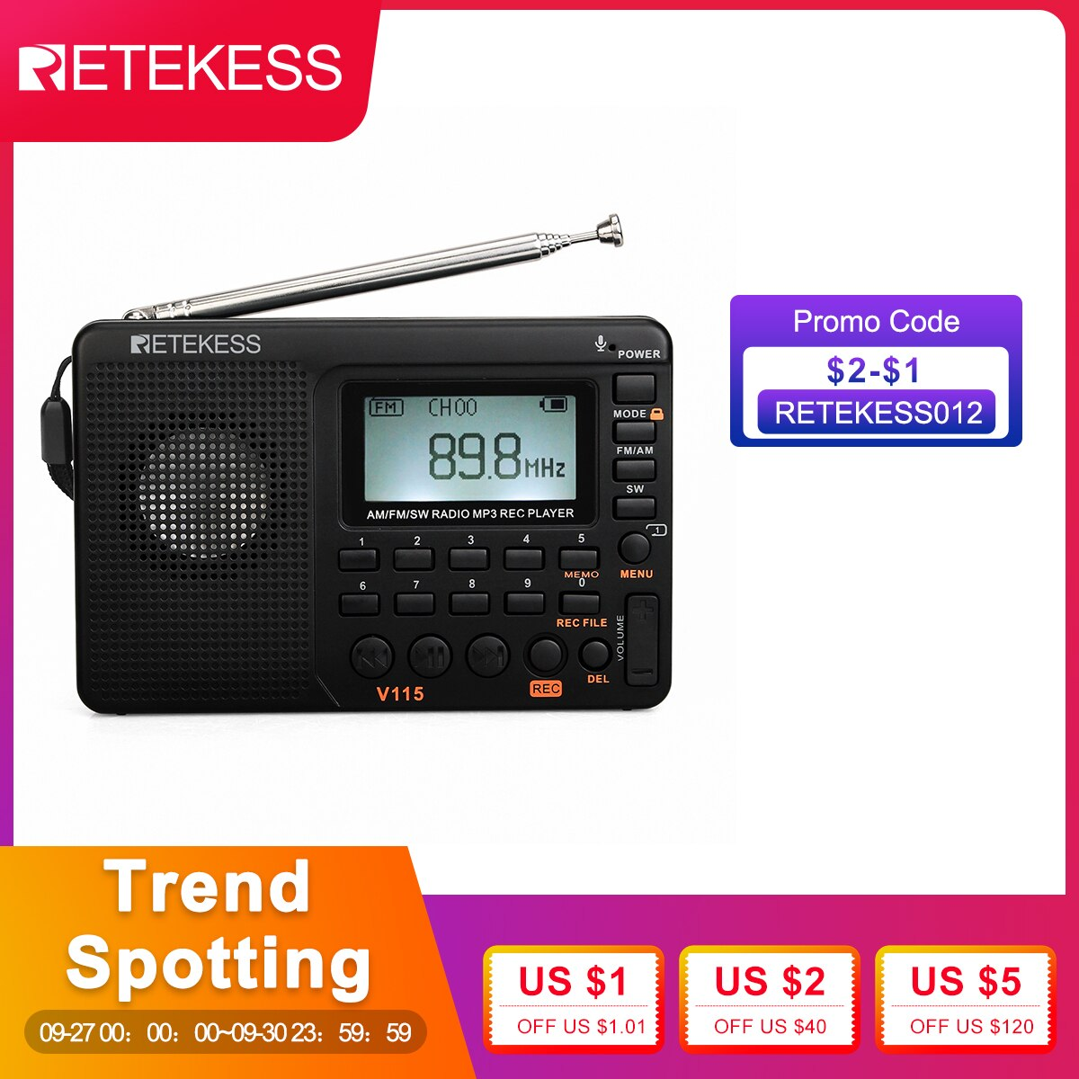 RETEKESS V115 راديو AM FM SW جيب راديو الموجات القصيرة FM المتكلم دعم TF بطاقة USB REC مسجل وقت النوم
