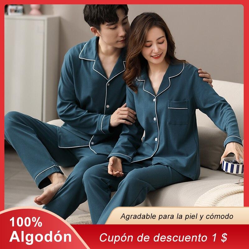 Зимние 100% хлопковые пижамы для пар, мужские и женские пижамы PJ, рождественские пижамы для пар, Мужская Ночная одежда, домашняя одежда, пижамы...