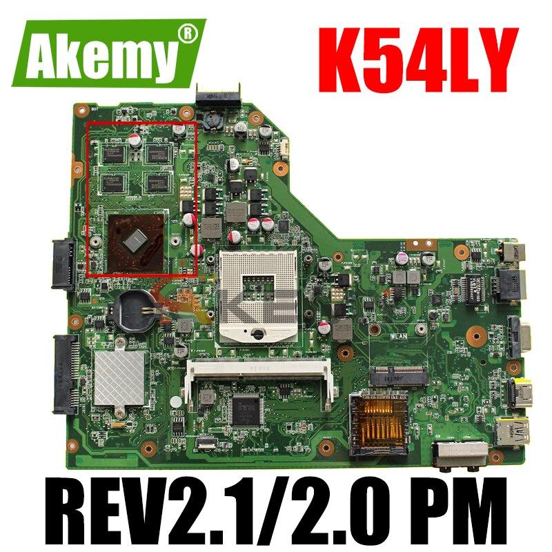 لوحة أم للكمبيوتر المحمول Akemy K54LY لـ ASUS K54LY K54HR X84H لوحة أم أصلية REV2.1/2.0 PM