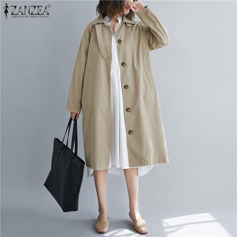 ZANZEA Oversized Women's Turn Down Collar Coats Jackets 2020 Fashion Long Sleeve Loose Pockets Outwear Overcoats Chaqueta Casaco