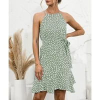 2021 women polka dot print sexy halter mini dress boho beach holiday ruffle sleeveless summer casual sashes short dresses