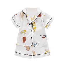 Short Sleeve Child Blouse Tops+Shorts Sleepwear Pajamas Kids Clothes Baby Pajama Sets Boys Girls Cartoon Print Outfits Set