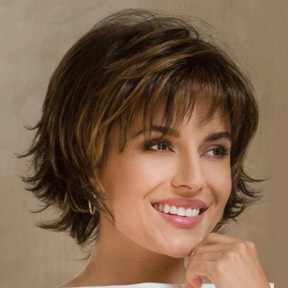Lousie Hair Short Natural Wave Wig For Black Women Short Brown Wavy Wig with Air Bangs Heat Resistant Synthetic Fiber Wig