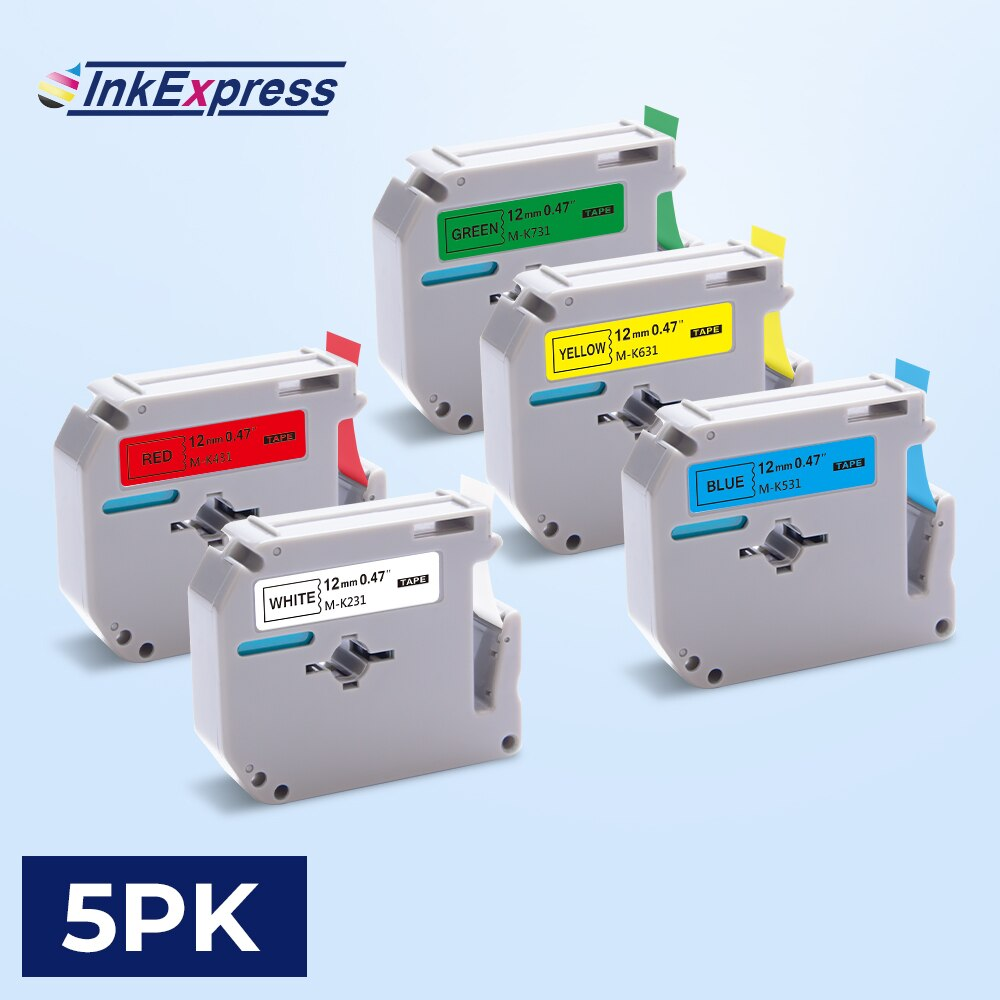 5 cores etiquetas para o irmão mk 231 mk-231 mk 431 mk 631 fita de etiqueta 12mm mk231 m fita para o irmão p impressora de etiquetas de toque PT-80