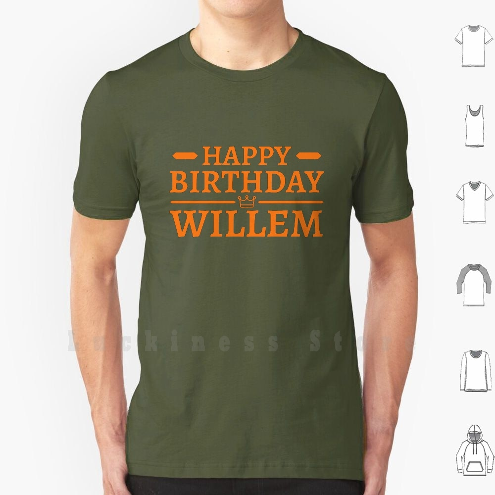 Feliz aniversário willem! Koningsdag kingsday holland t camisa de algodão das mulheres dos homens diy impressão amersfoort koningsdag kingsday reis dia