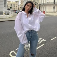 2021 autumn new solid color stylish loose white stand up collar lady cotton blouse female lapel casual fashion long women shirt