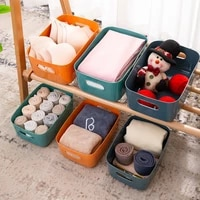 storage basket box with handle desktop sundries cube underwear toy container plastic large capacity clothes organizer case
