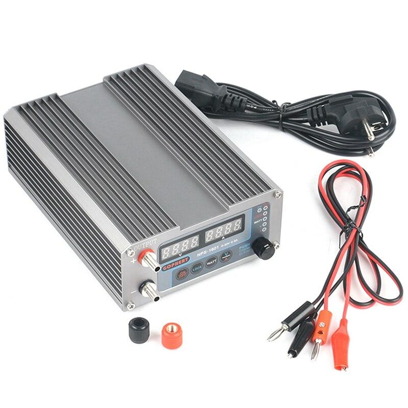 NPS-1601 النسخة مختبر DIY قابل للتعديل الرقمية البسيطة التبديل DC امدادات الطاقة واط مع قفل وظيفة 0-32V 5A الاتحاد الأوروبي التوصيل