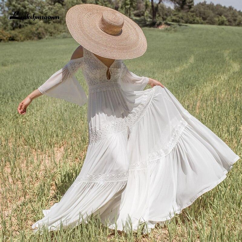 Lakshmigown-vestido de novia bohemio de gasa, vestido de novia bohemio de encaje...