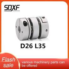 Acoplador de eje Flexible, abrazadera de aluminio doble diafragmas D26 L35 para acoplamiento de impresión 3D, servomotor, conexión CNC 5,6, 6,35, 8,10