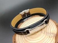 bracelet mens bracelet leather bracelet chaoren jewelry titanium steel multilayer leather rope wire factory direct sales