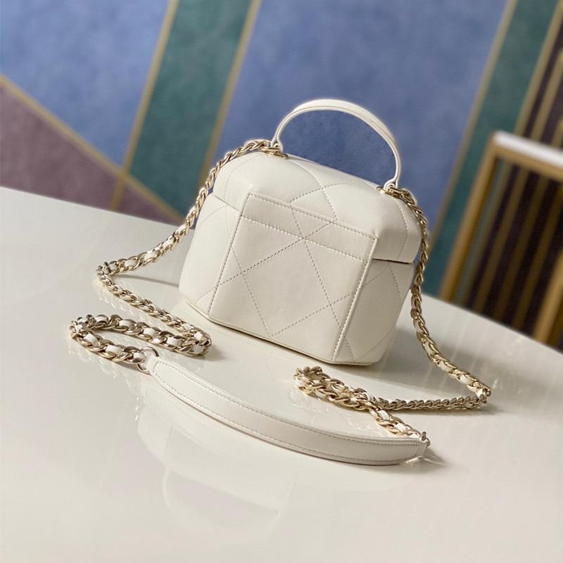 Leather Bag Female 2021 Autumn And Winter Handcraft Workshop Portable Moonlight Treasure Box Bag Shoulder Messenger Chain Box ba