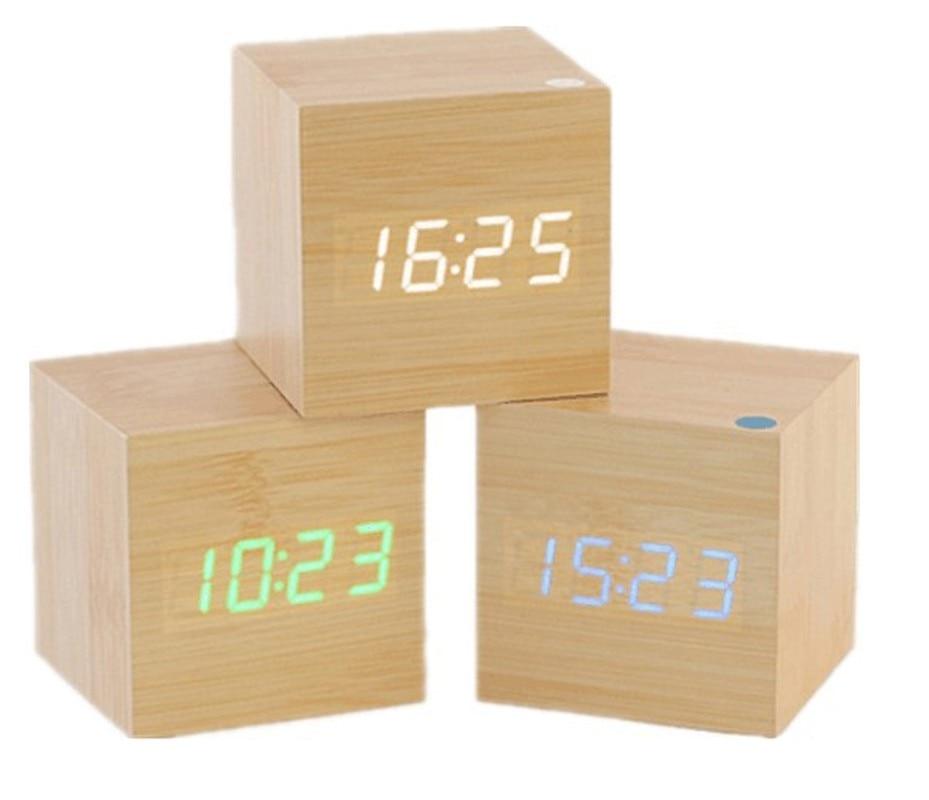 INS Desktop Square Electronic Small Alarm Clock Minimalist Mini Mute Voice Led Clock Glow-in-the-Dark near the shu ma zhong