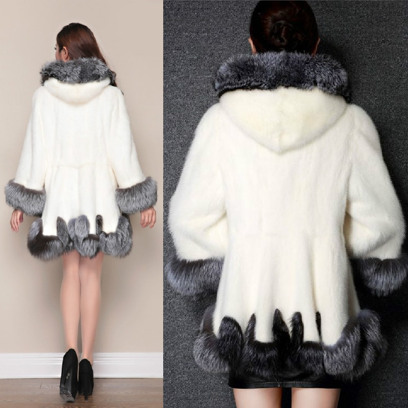 Fashion Short Faux Fur Coats Hooded Long Sleeves Winter Women Warm Overcoats Black Mid-Length White Elegant Office Lady Parkas