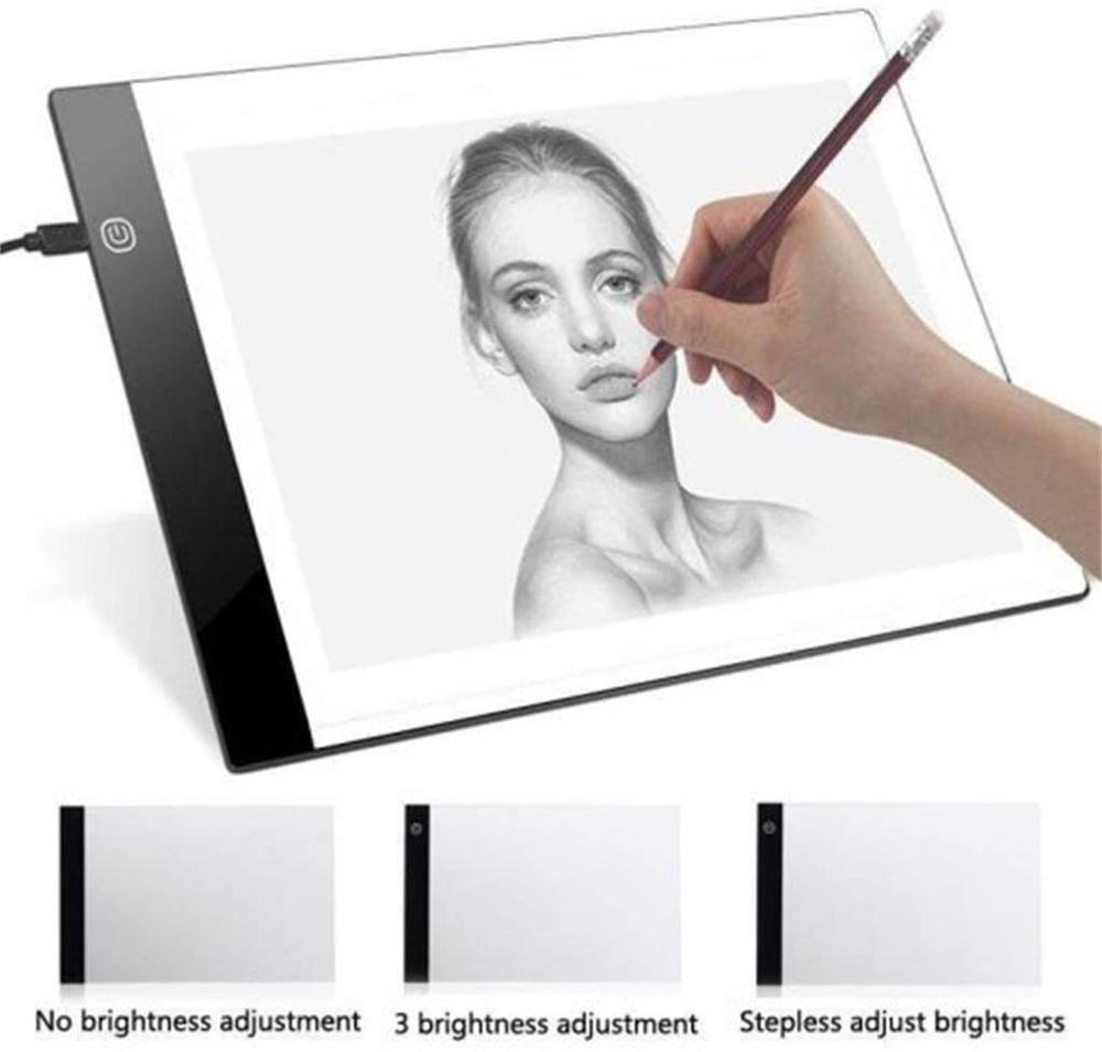 Almohadilla de luz LED A3 para pintura de diamantes, Kit de placa de luz alimentada por USB, brillo ajustable con almohadilla de luz de rastreo para dibujo