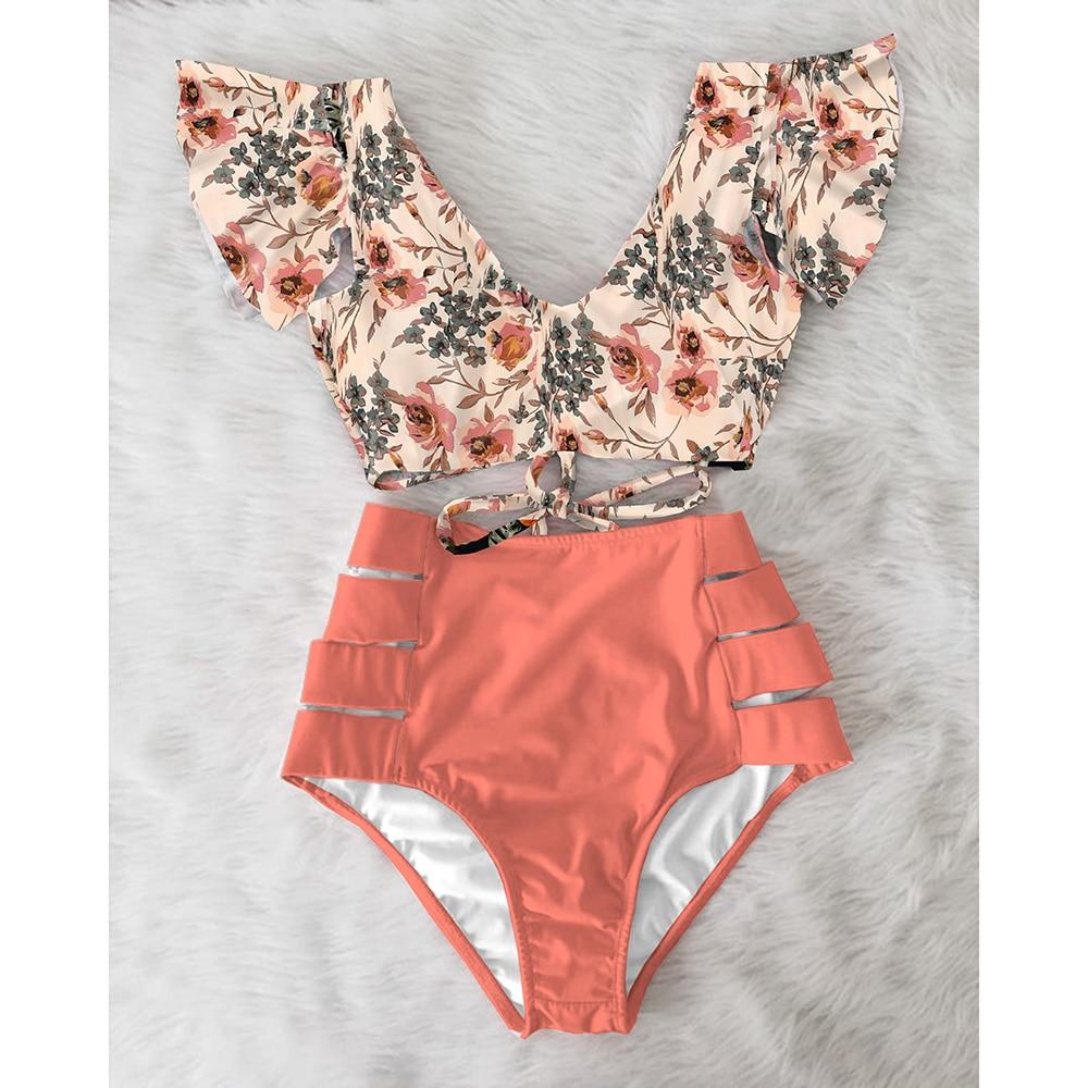 High Waist Bikini 2021 Ruffle Swimwear Women Print  Swimsuit Push Up Bikinis Plus Size Bathing Suits Floral Beach Wear