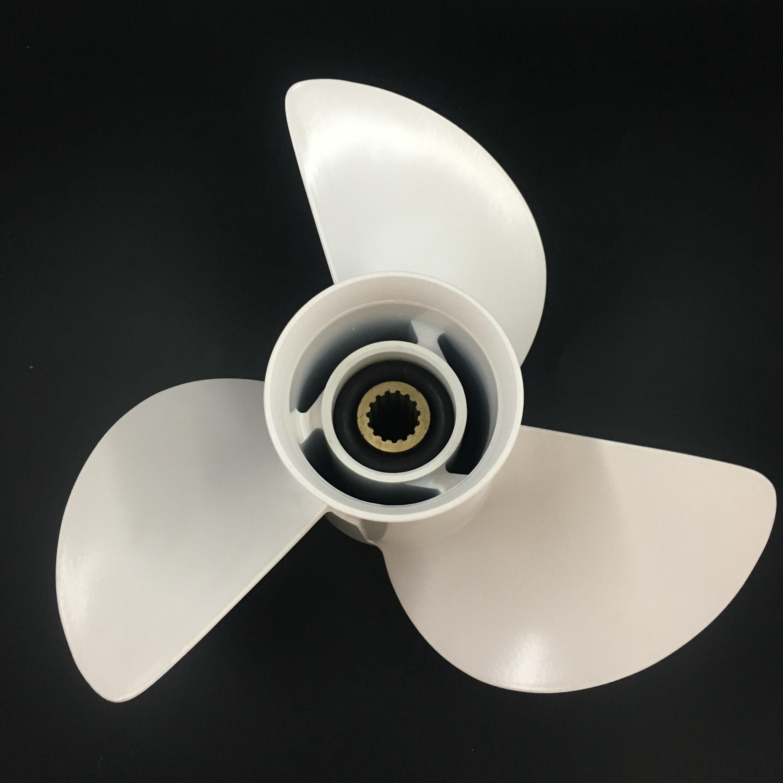 Boat propeller suit for Yamaha 13 5 8x13 aluminum prop 60-115HP  3 blade 15 tooth RH OEM No: 6E5-45949-00-EL enlarge
