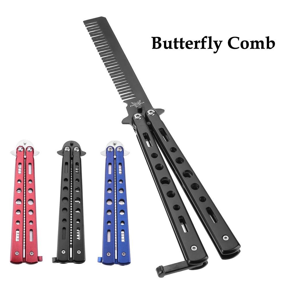 training salon stainless steel butterfly comb sling knife safety training knife novice blade practice comb for novices HOT 1pc Foldable Butterfly Knife Comb Stainless Steel Practice Training Butterfly Comb Beard & Moustache Brushes Hairdressing ✈