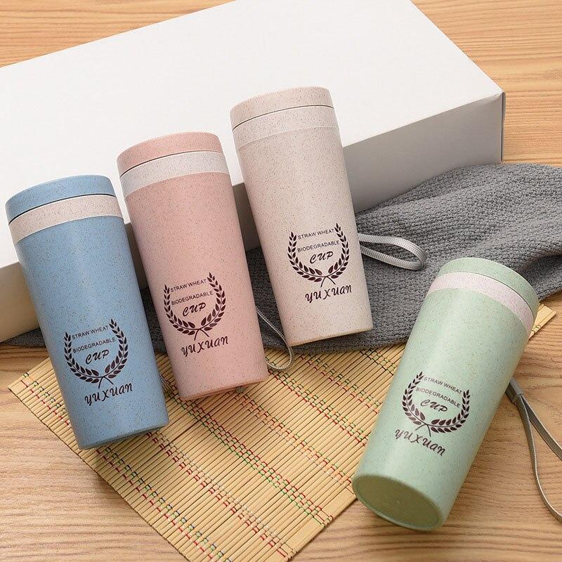 Vaso de fibra de paja taza de trigo vaso portátil de doble capa de fragancia de trigo taza de regalo creativo personalizado