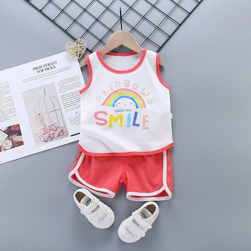 Ropa de verano para niñas pequeñas, sin mangas, conjuntos de ropa para niños Vesst para niños y niñas, ropa para niños con dibujos de arcoíris adorable, 2020
