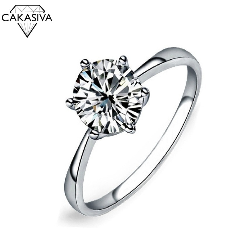 Austrian Crystal Zircon Simple Zircon Ring for Women Six-Claw Ring Engagement Wedding Gift Jewelry Ring luxury women s crystal zircon ring red green gem ring round ring valentine s day gift cocktail party jewelry engagement ring