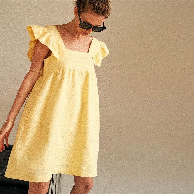 2021 Women Summer Sexy Dress Square Neck Solid Color Cute Elegant Clothes Vestidos