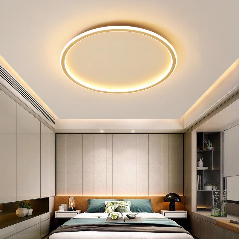 Ultra-delgada Luz de techo LED de oro cuadrado redondo Rectangular lámparas de techo para la vida moderna habitación de montaje en superficie de la lámpara del Panel