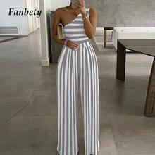 Women Elegant Stripe Print Wide Leg Jumpsuit Sexy One Shoulder Romper Bodysuit Lady Summer Causal Of