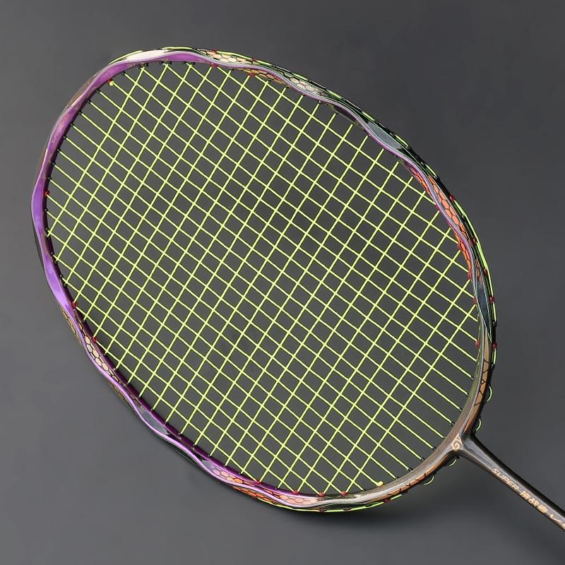 Profissional de fibra carbono t700 raquetes badminton luz 4u com saco corda tensão máxima 30lbs tipo ofensivo raquete padel original
