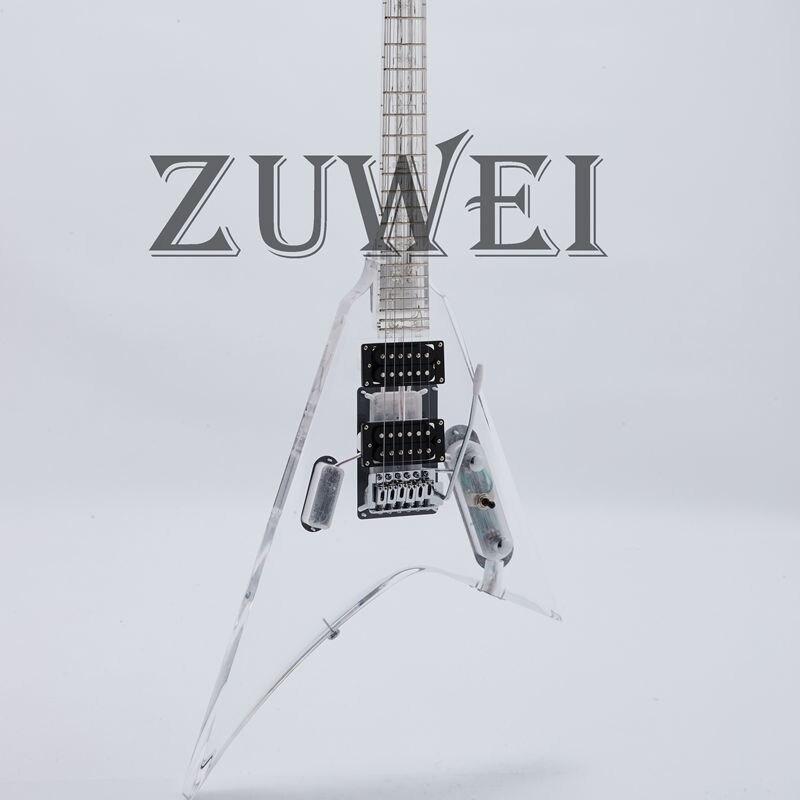 2019 nova zuwei guitarra elétrica corpo acrílico completo rosa led luz puxar/empurrar swtich controle