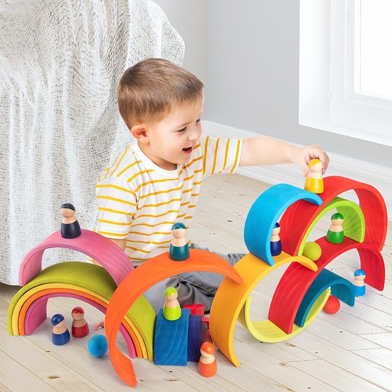 Montessori brinquedo bloco de madeira arco-íris empilhador crianças criativo arco-íris blocos de construção de madeira brinquedo do bebê aprendizagem precoce brinquedo educativo