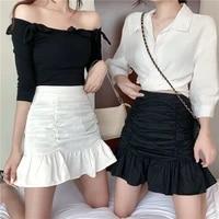 female summer sexy thin fishtail skirt skirt high waist short skirt pleated hips lotus leaf white skirt womens pleated skirt