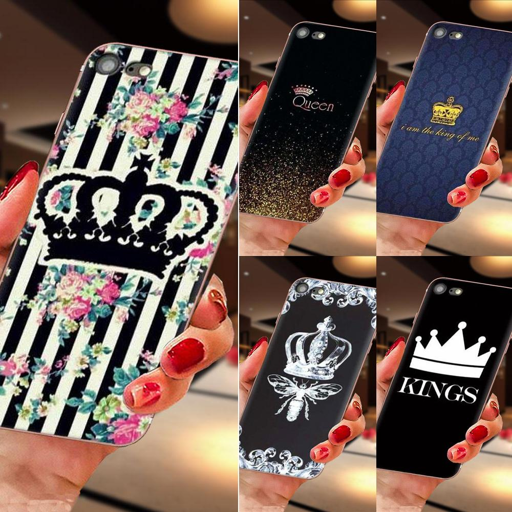 Para Apple iPhone 11 Pro X XS X Max XR 4 4S 5 5C 5S SE 6 6S 7 8 Plus TPU caso suave accesorios de lujo de Rey reina coronas
