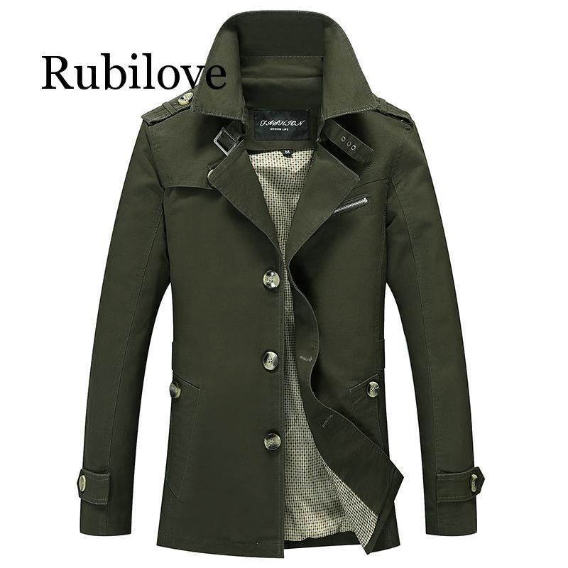 Мужские куртки-карго в стиле милитари, деловой Повседневный длинный Хлопковый тренч, мужская куртка, фирменный классический Тренч, однобор...
