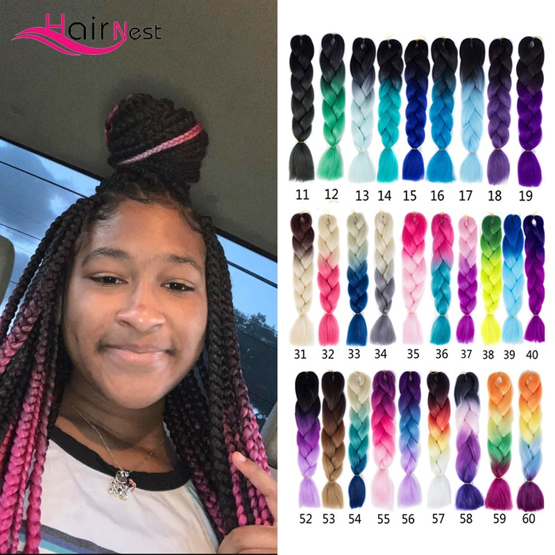 Hair Nest Kanekalon Ombre Synthetic Braiding Hair Jumbo Braids Long Strands Hair Extensions Blonde African X-Pression 100g/Pack